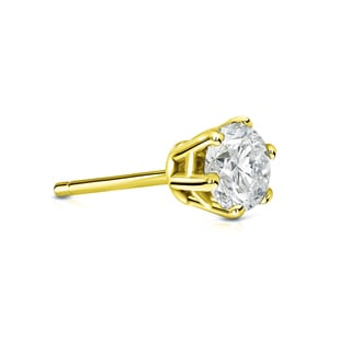 Auriya 14k Gold 1/3ct TDW Round-Cut Diamond 6-Prong Push-Back Single Stud Earring (I-J, I1-I2)