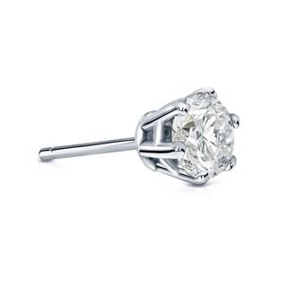 Auriya 14k Gold 3/4ct TDW Round-Cut Diamond 6-Prong Push-Back Single Stud Earring (I-J, I1-I2)