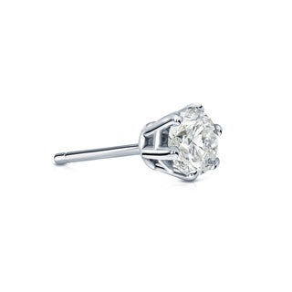Auriya 14k Gold 1/4ct TDW Round-Cut Diamond 6-Prong Push-Back Single Stud Earring (I-J, I1-I2)