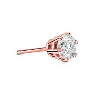 Auriya 14k Gold 1/2ct TDW Round-Cut Diamond 6-Prong Push-Back Single Stud Earring (I-J, I1-I2)