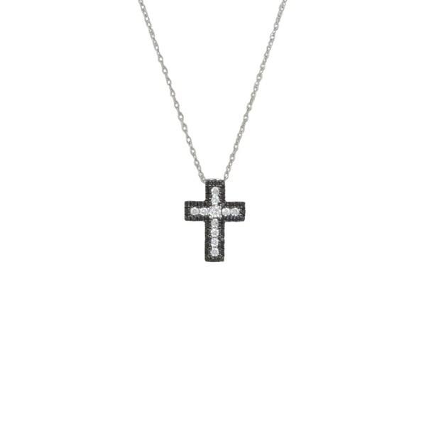 e27781acd0f929 14k White Gold 1/3ct TDW Black and White Diamond Cross Pendant Necklace