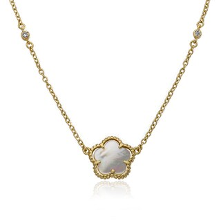 Little Miss Twin Stars 14 Gold Overlay 16-inch Flower Necklace