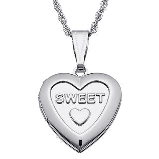 Kids 'Sweet' Silvertone Engraved Heart Locket