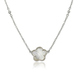 Little Miss Twin Stars Classic! Mother-of-pearl Flower on 16-inch Chain Necklace