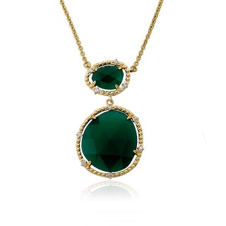 Faceted 14K Goldplated Precious Green Agate Gem Stone Pendant on 16-inch Necklace