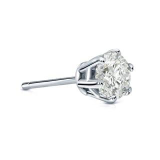 Auriya 14k Gold 3/4ct TDW Round-Cut Diamond 6-Prong Push-Back Single Stud Earring (J-K, I2-I3)