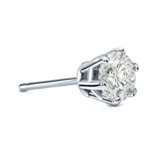 Auriya 14k Gold 1ct TDW Round-Cut Diamond 6-Prong Push-Back Single Stud Earring (J-K, I2-I3)