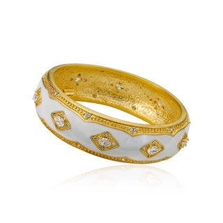 Riccova Romanesque Black Rhodium-plated 14k Goldplated Brass White Enamel and CZ In Diamond-shaped Accents Bangle