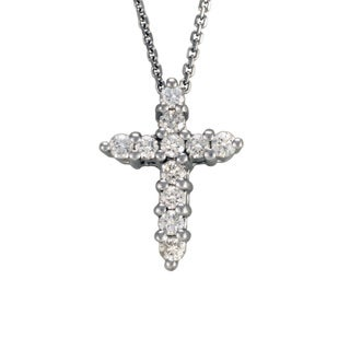 14k White Gold .25ct TDW Diamond Cross Pendant Necklace
