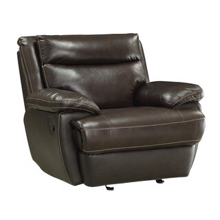 Cocoa Bean Leather Glider Recliner