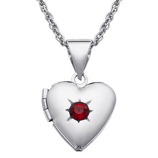 Kids Silvertone Birthstone Heart Locket