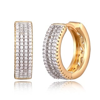 Peermont Jewelry Gold Crystal Swirl Cutout Huggie Earrings