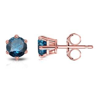 Auriya 14k Gold 1/2ct TDW 6-Prong Push-Back Round-Cut Blue Diamond Stud Earrings (Blue)