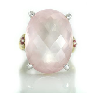 One-of-a-kind Michael Valitutti Oval Rose Quartz Cocktail Ring