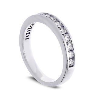 Azaro 14k White Gold 1/2ct TDW Round Diamond Halfway Wedding Band (G-H, SI1-SI2)