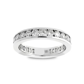 Azaro 18k White Gold 5/8ct TDW Round Diamond 3-row Halfway Wedding Band (G-H, SI1-SI2)
