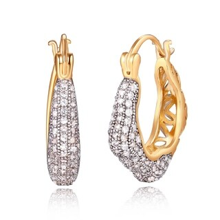 Yellow Gold Plated and Crystals Irregular Cutout Earrings
