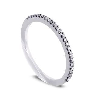 Azaro Jewelry 14k White Gold 1/6ct TDW Round Diamond Halfway Wedding Band (G-H, SI1-SI2)