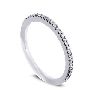 Azaro Jewelry 14k White Gold 1/6ct TDW Round Diamond Halfway Wedding Band
