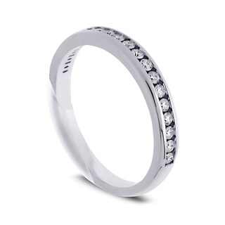 Azaro Jewelry 14k White Gold 1/4ct TDW Round Diamond Halfway Wedding Band (G-H, SI1-SI2)
