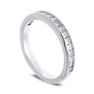 Azaro Jewelry 14k White Gold 1/2ct TDW Princess-cut Diamond Halfway Wedding Band (G-H, SI1-SI2)
