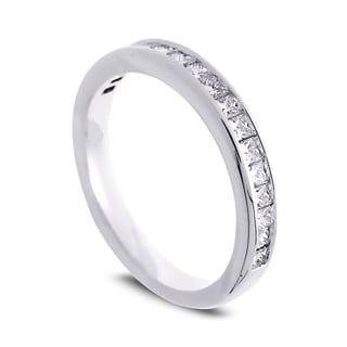 Azaro Jewelry 14k White Gold 1/2ct TDW Princess-cut Diamond Halfway Wedding Band