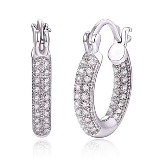18k White Gold and Crystal Hoop Earrings
