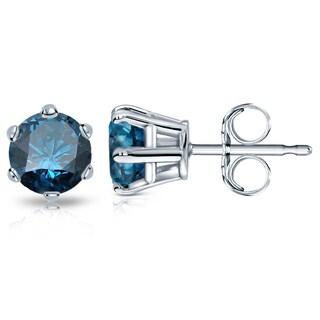 Auriya 14k Gold 2ct TDW 6-Prong Push-Back Round-Cut Blue Diamond Stud Earrings (Blue)