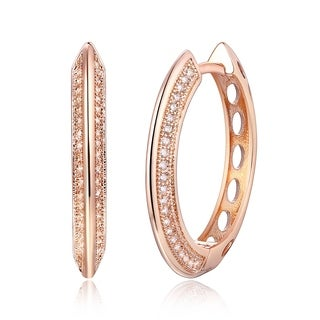 Peermont Jewelry Rose Gold Plated Crystal Oval Hoop Earrings