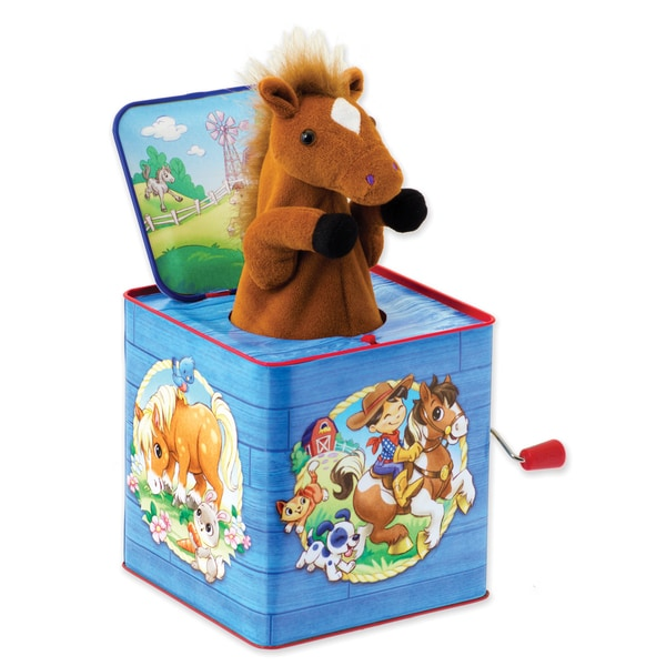 Schylling Poppin Multicolored Plush Pony Jack In Box Toy