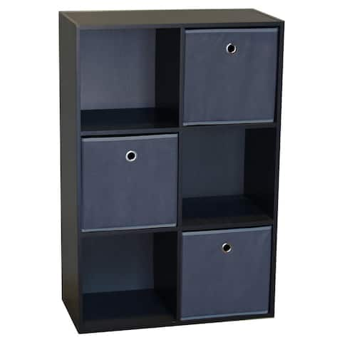 Wood 6-cell Storage Cube With 3 Fabric Bins