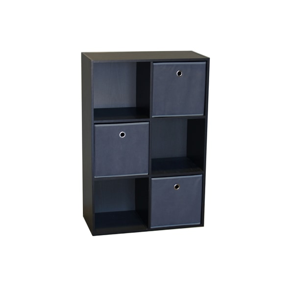 Wood 6 Cell Storage Cube With 3 Fabric Bins