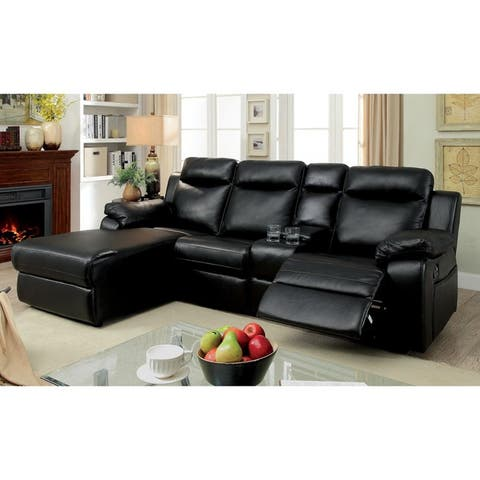 Furniture of America Faux Leather Reclining Sectional with Chaise