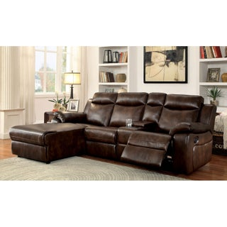 Furniture of America Tristen Reclining L-Shaped Leatherette Sectional (Option: Brown)