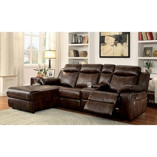 Furniture of America Tristen Reclining L-Shaped Leatherette Sectional  sc 1 st  Overstock.com : sectional sofa with chaise and recliner - islam-shia.org