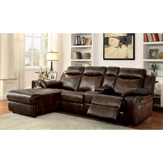 Furniture of America Tristen Reclining L-Shaped Leatherette Sectional (2 options available)