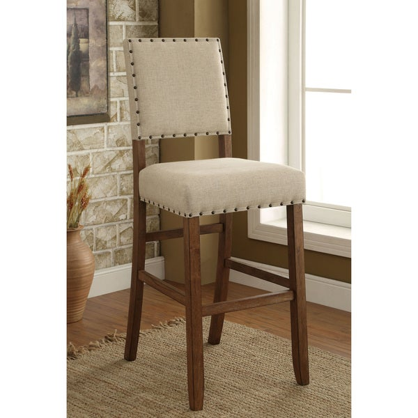 Furniture of America Tays Contemporary Brown Fabric Bar Chairs (Set of 2). Opens flyout.