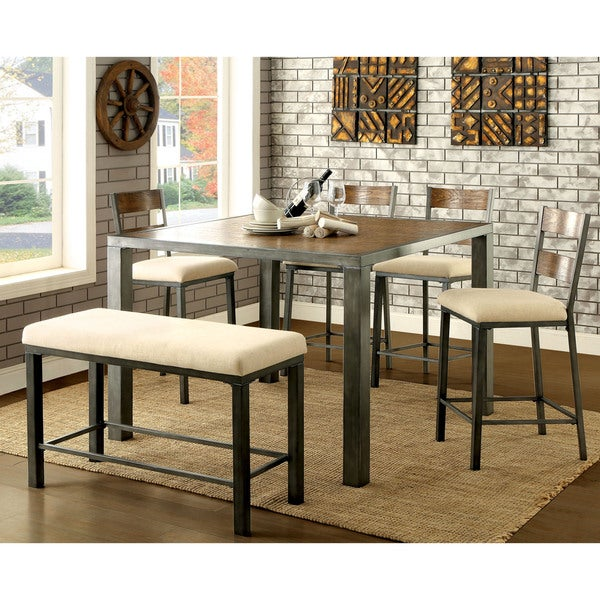Furniture Of America Kesso Industrial Weathered Oak 6 Piece Counter Height  Dining Table Set