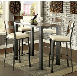 furniture of america kesso industrial weathered oak 5 piece bar table set