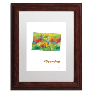 Marlene Watson 'Wyoming State Map-1' Matted Framed Art
