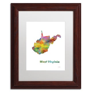 Marlene Watson 'West Virginia State Map-1' Matted Framed Art
