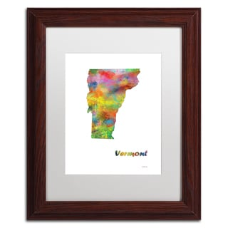 Marlene Watson 'Vermont State Map-1' Matted Framed Art