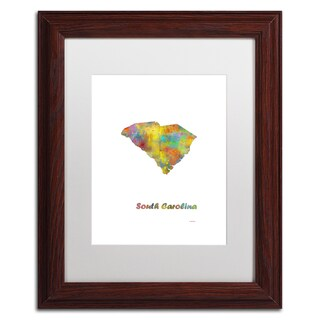Marlene Watson 'South Carolina State Map-1' Matted Framed Art