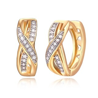 Peermont Jewelry Gold Plated Crystal Twisted Huggie Earrings