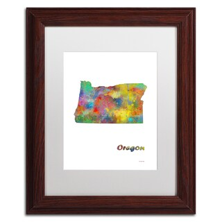 Marlene Watson 'Oklahoma State Map-1' Matted Framed Art