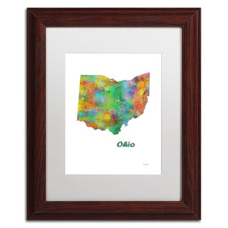 Marlene Watson 'North Dakota State Map-1' Matted Framed Art