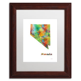 Marlene Watson 'Nevada State Map-1' Matted Framed Art