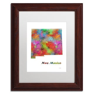 Marlene Watson 'New Jersey State Map-1' Matted Framed Art