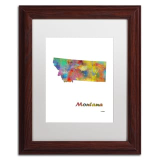Marlene Watson 'Montana State Map-1' Matted Framed Art