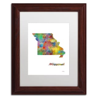 Marlene Watson 'Missouri State Map-1' Matted Framed Art